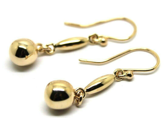Kaedesigns, 9ct 9kt Yellow Or White Or Rose Gold 8mm Ball Long Drop Earrings