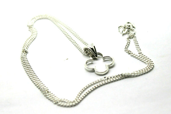 GENUINE STERLING SILVER/925,  FOUR LEAF CLOVER PENDANT & STERLING  SILVER CHAIN