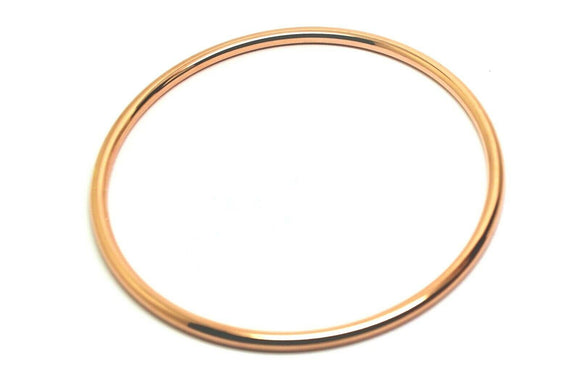 9ct Rose gold 3mm wide Hollow GOLF bangle 63mm diameter * FREE EXPRESS POST OZ