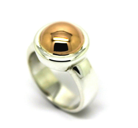 Size N Genuine New Solid Sterling Silver 925 & 9Ct Rose Gold 375 Half Ball Ring