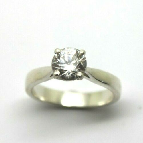 Kaedesigns, Genuine 9ct Solid White Gold 4 Claw Set Engagement Ring Size N