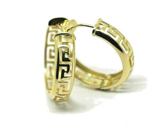 Heavy Solid Large 18ct 750 Yellow, Rose Or White Gold Greek Key Hoop Earrings