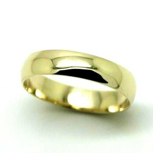 Solid 9ct 9k Yellow Gold 4mm Wedding Band Ring Size O 1/2