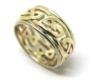 Size Z + 2 Genuine Heavy Solid 9ct Yellow & White Gold 12mm Large Celtic Ring