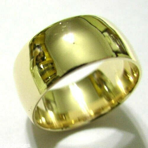 Kaedesigns Genuine 9ct Yellow, Rose or White Gold Solid 10mm Wide Dome Ring Comfort Fit