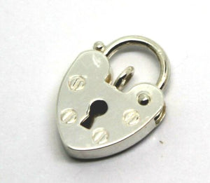 SMALL 11MM STERLING SILVER SCREW HEART PENDANT PADLOCK  *Free express post in oz