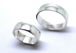 HIS & HERS GENUINE 2 X FULL SOLID 9CT WHITE GOLD 6MM WIDE WEDDING BANDS RINGS