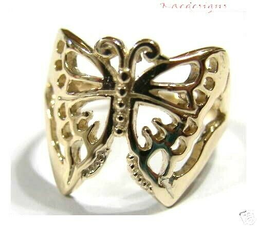 Solid 9ct White Or Rose Or Yellow Gold Large Butterfly Ring Choose Size 236
