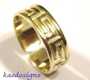 LARGE SIZE O / 7 9ct 375 YELLOW, ROSE OR WHITE GOLD GREEK KEY TOE RING