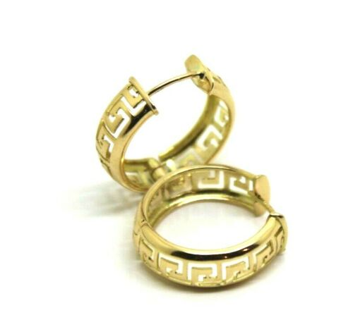 Genuine Heavy Solid Medium / Small 18ct 750 Yellow Gold Greek Key Hoop Earrings