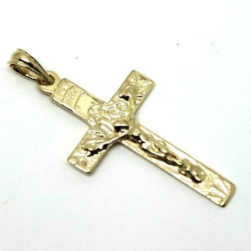 Genuine 9CT ROSE or YELLOW or WHITE GOLD CRUCIFIX CROSS PENDANT