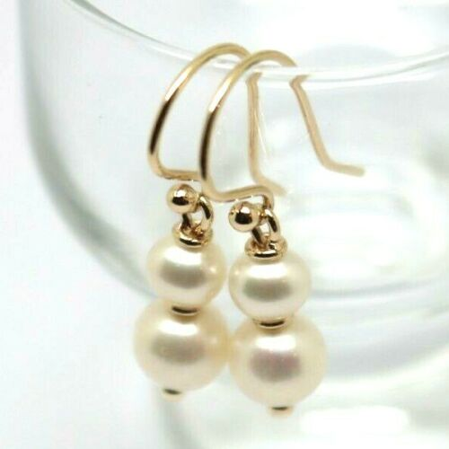 New 9ct 9k Yellow, Rose or White Gold 6mm & 8mm White Pearl With Open hooks Earrings