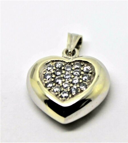 GENUINE NEW  9CT WHITE GOLD CZ PAVE HEART PENDANT *FREE EXPRESS POST IN OZ*