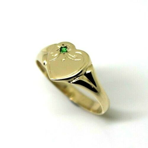 265 Genuine 9ct 9K Yellow, Rose and White Gold Green Emerald (Birthstone Of May) Signet Ring