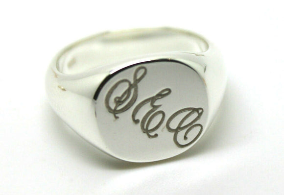 GENUINE SOLID NEW STERLING SILVER OVAL SIGNET RING ENGRAVED WITH YOUR INITIALS.