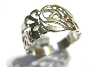 Kaedesigns, New Sterling Silver 925 Wide Flower Filigree Ring 278