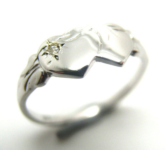 Size N Genuine Solid New 9ct 9Kt Yellow, Rose or White Gold Diamond Double Heart Signet Ring