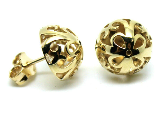 Genuine New 9K 9ct Yellow Gold Half Ball 12mm Stud Flower Earrings
