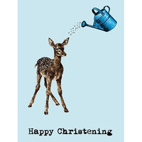 Petal & Pad Deer Christening greetings card, baby boy, non religious. Happy Christening