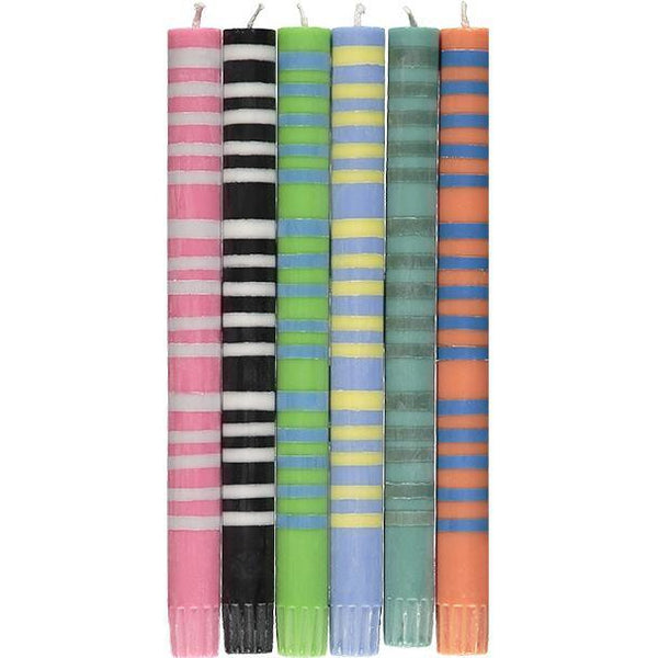 British Colour Standard Striped Candles - Mixed Thin Stripe