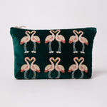 Elizabeth Scarlett Kissing Flamingos Travel Pouch