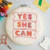 Yes She Can Embroidery Hoop Kit