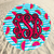 Watermelon monogram round beach towel