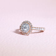 Rose Gold Oval Frame Diamond Unity Ring | 1.00 Carat Total Weight