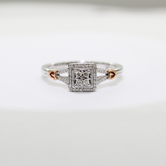 Silver Halo Diamond  Ring | 0.17 Carat Total Weight -  MarquiseJewelers