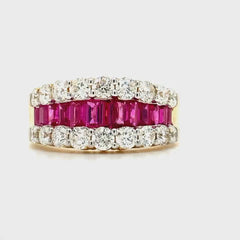 Yellow Gold Fancy  Ruby & Diamond Band | 2.67 Carat Total Weight