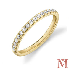 Yellow Gold Prong Set Diamond Band|0.25Carat Total Weight
