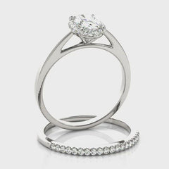 Oval Diamond Halo Engagement Ring | 0.33 Carat Total Weight