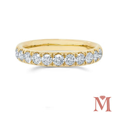 Yellow Gold Prong Set Diamond Band|1.00 Carat Total Weight