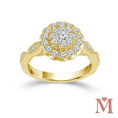 Yellow Gold Round Frame Diamond Unity Ring | 1.00 Carat Total Weight