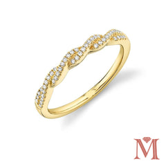 Yellow Gold Twisted Diamond Band| 0.12 Carat Total Weight