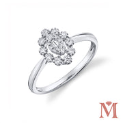 White Gold Marquise Frame Diamond Petite Ring | 0.25 Carat Total Weight