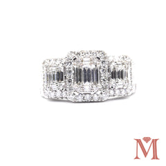 White Gold 3 Stone Diamond Ring|2.00 Carat Total Weight