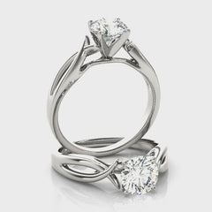 Round Diamond Twist Cathedral Engagement Ring