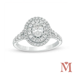 White Gold Oval Double Halo Diamond Engagement Ring | 1.75 Carat Total Weight | Opera Collection