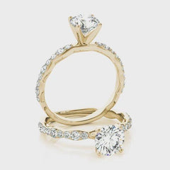 Round Diamond Tapered Engagement Ring | 0.33 Carat Total Weight
