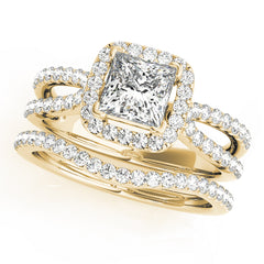 Cushion Diamond Split-Shank Halo Engagement Ring | 0.55 Carat Total Weight