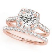Round Diamond Cushion Halo Pavé Engagement Ring| 0.75 Carat Total Weight
