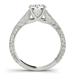 Round Diamond Fancy Cathedral Engagement Ring