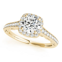 Round Diamond Cushion Halo Milgrain Engagement Ring | 0.55 Carat Total Weight