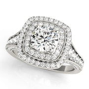 Round Diamond Cushion Double-Halo Engagement Ring | 1.08 Carat Total Weight
