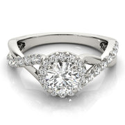 Round Diamond Halo Pavé Twist Engagement Ring | 0.53 Carat Total Weight