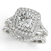Round Diamond Cushion Double-Halo Engagement Ring | 0.70 Carat Total Weight