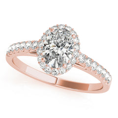 Oval Diamond Halo Pavé Engagement Ring| 0.46 Carat Total Weight