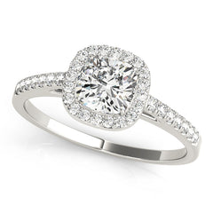 Cushion Diamond Halo Engagement Ring | 0.46 Carat Total Weight