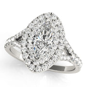 Marquise Diamond Double-Halo Engagement Ring | 0.70 Carat Total Weight